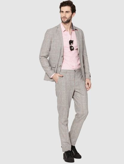 Beige Plaid Double Button Slim Fit Blazer