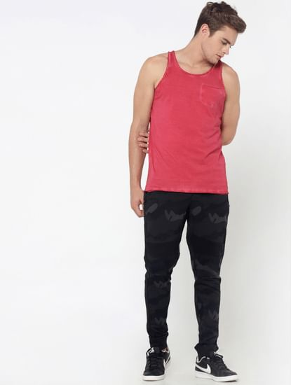Red One Pocket Tank Top