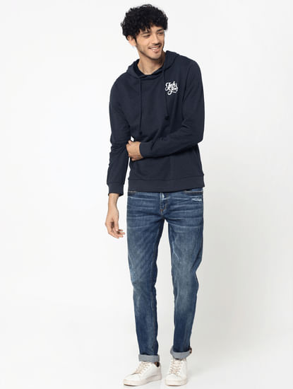 Dark Blue Logo Print Slim Fit Hooded Sweatshirt