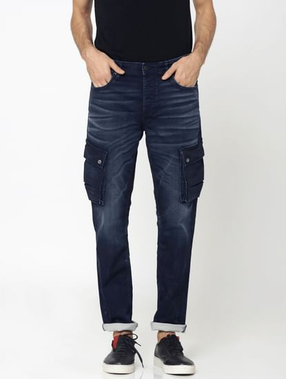 Dark Blue Cargo Style Tim Slim Fit Jeans