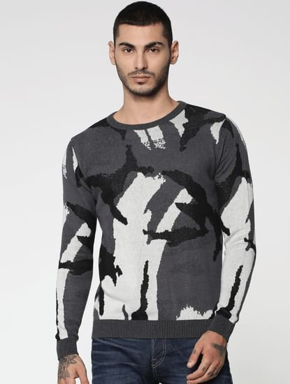 Grey Camo Print Jacquard Pullover