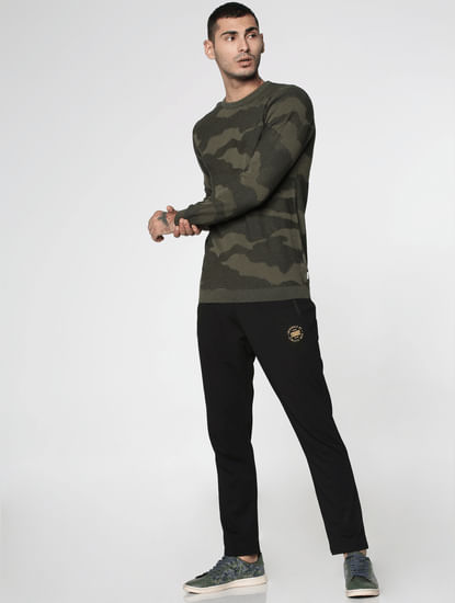 Green Camo Jacquard Slim Fit Sweatshirt