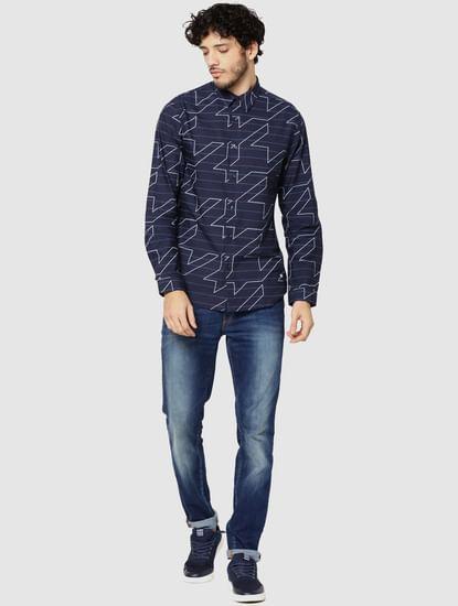 Dark Blue Striped & Geometric Print Full Sleeves Shirt