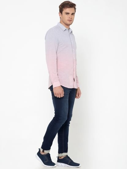 Red Ombre Striped Slim Fit Shirt
