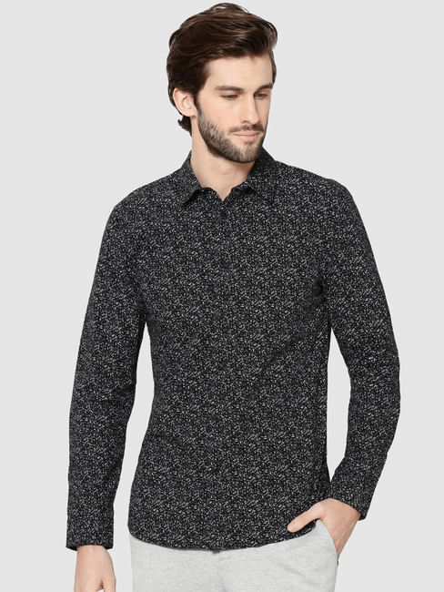Black All Over Print Full Sleeves Slim Fit Shirt