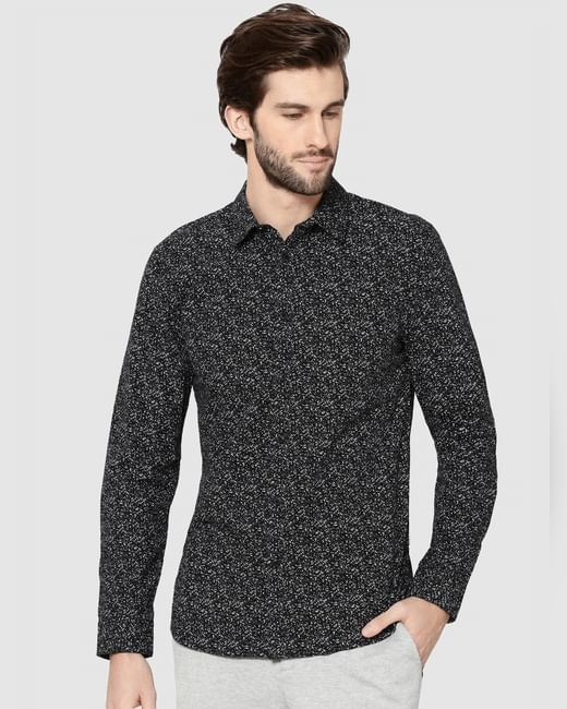 Black All Over Print Full Sleeves Slim Fit Shirt