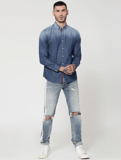 Ombre Blue Denim Full Sleeves Slim Fit Shirt