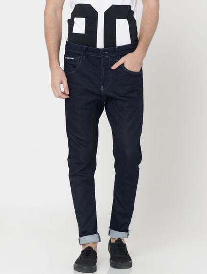 Dark Blue Drawstring Detail Cliff Anti -Fit Jeans