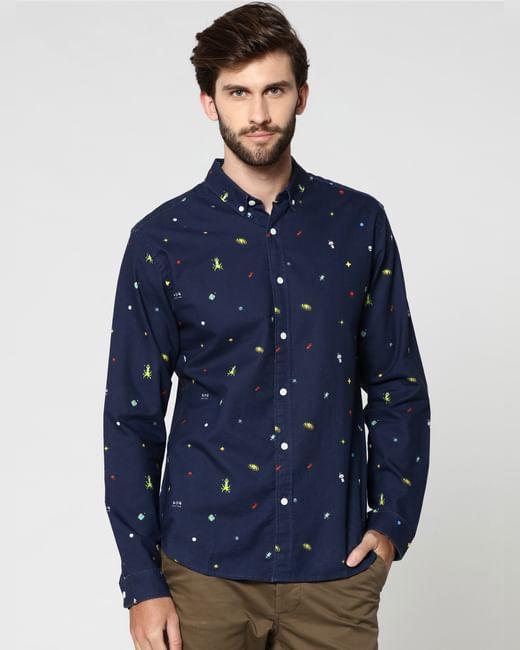 Dark Blue All Over Print Full Sleeves Shirt