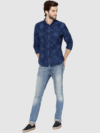 Dark Blue Denim Jacquard Full Sleeves Shirt