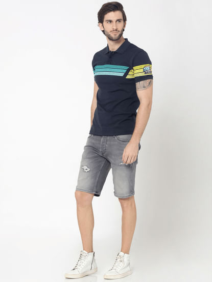 Blue Colourblocked Striped Polo T-Shirt