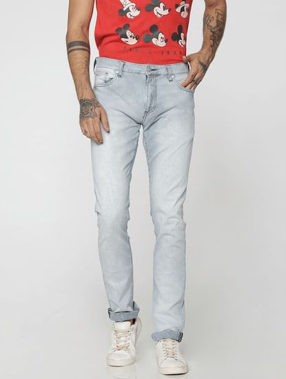 Light Blue Striped Tim Slim Fit Jeans
