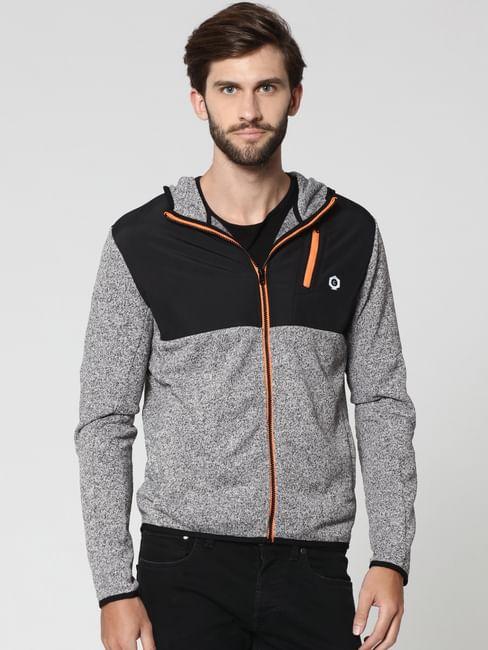 Light Grey Colourblocked Sweat Jacket