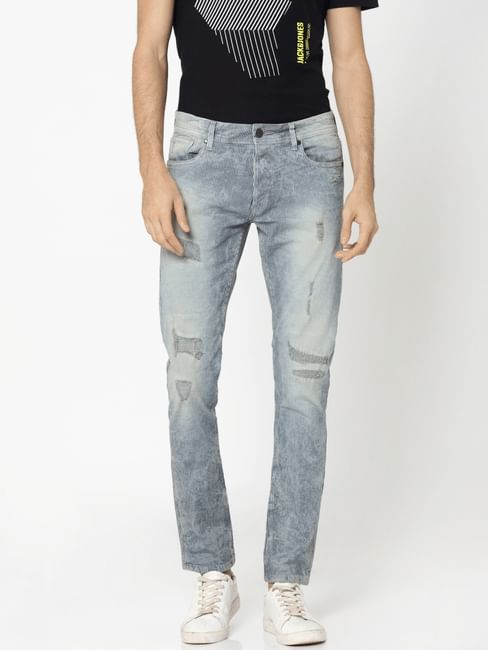 Blue Heavy Distressed Glenn Slim Jeans