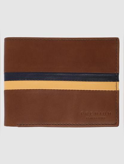 Tan Striped Leather Wallet