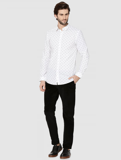 White All Over Skull Print Full Sleeves Shirt