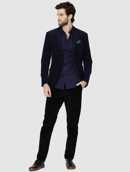 Dark Blue All Over Printed Jacquard Slim Fit Shirt