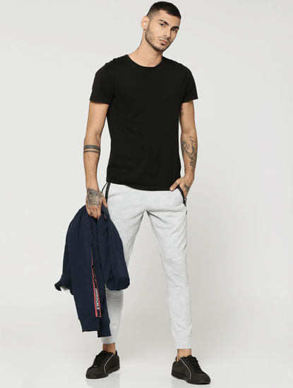 Grey Contrast Pocket Lining Sweatpants