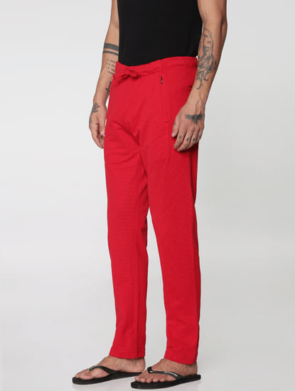 Red Side Zip Detail Drawstring Trackpants