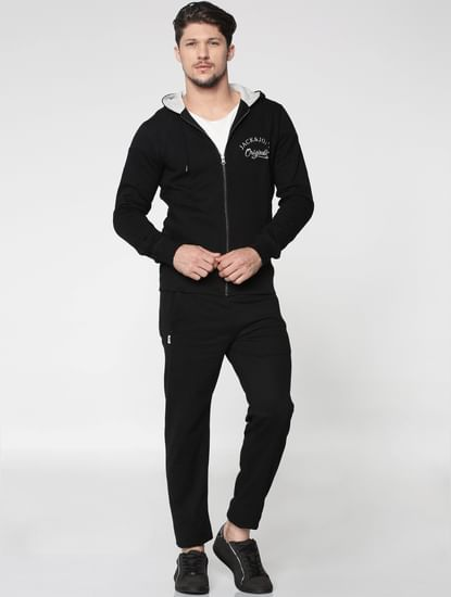 Black Front Zip Hooded Sweatshirt