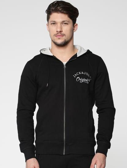 Black Front Zip Hooded Sweatshirt
