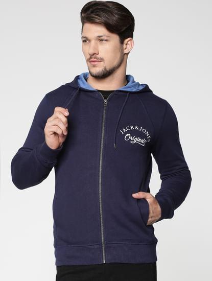 Blue Front Zip Hooded Sweatshirt