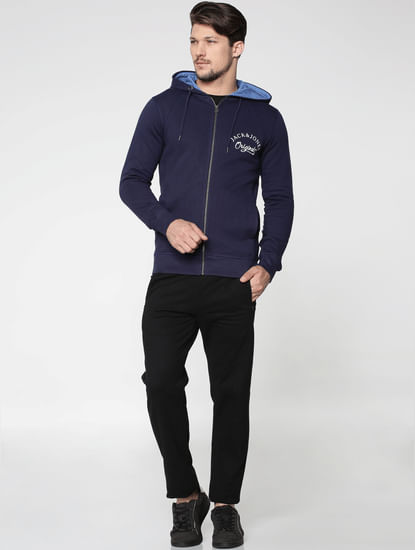 Blue Front Zip Hooded Sweatshirt