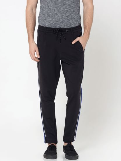 Dark Grey Tape Detail Drawstring Pants