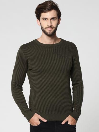 Olive Green Jacquard Crew Neck Sweatshirt