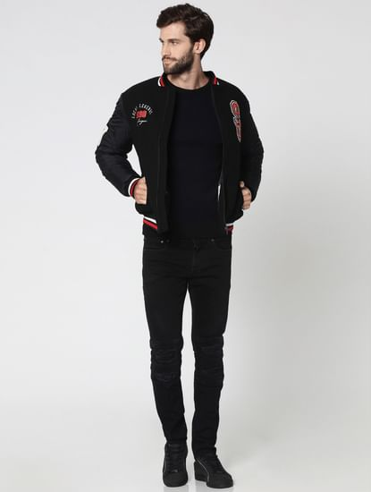Black Jacquard Crew Neck Sweatshirt