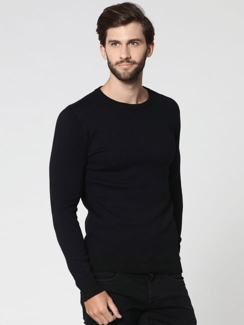 Black Jacquard Crew Neck Sweatshirt