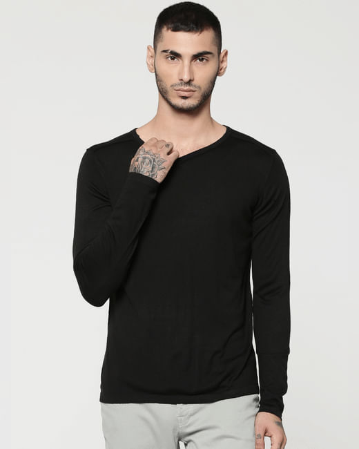 Black V-Neck Full Sleeves T-Shirt
