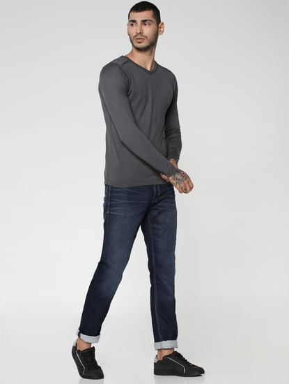 Grey V-Neck Sweatshirt