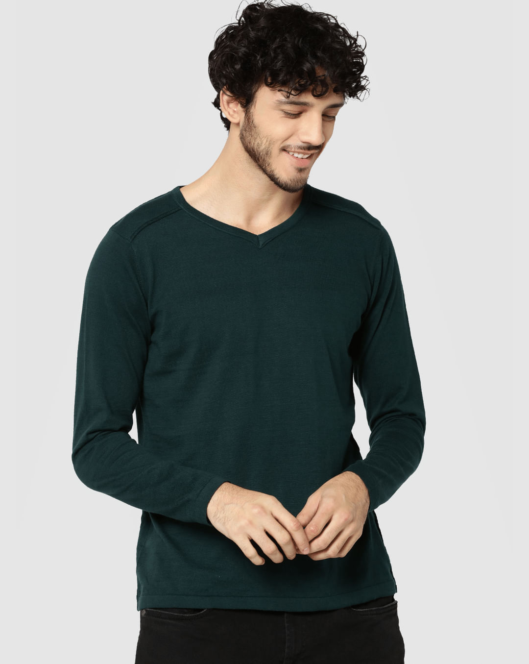 Buy Men Green V Neck Full Sleeves T Shirt Online Jack Jones