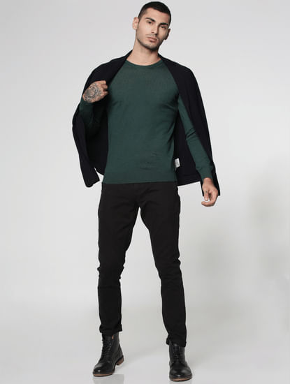 Green Knit Crew Neck Sweatshirt