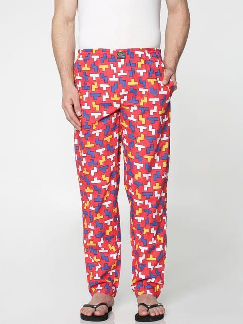 Red All Over Tetris Print Pyjama