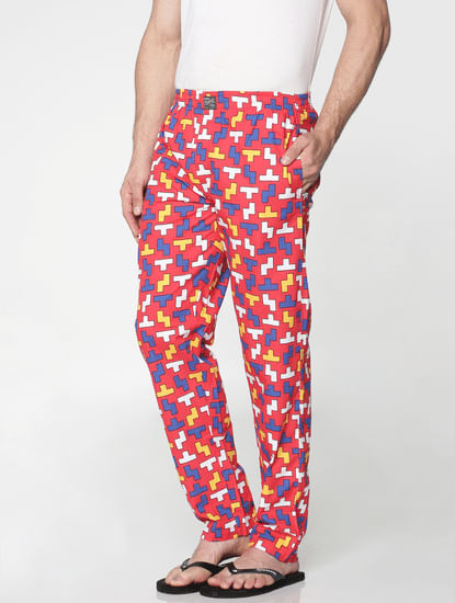 Red All Over Tetris Print Pyjama