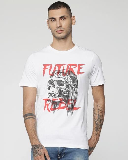 White Skull & Text Print Crew Neck T-Shirt