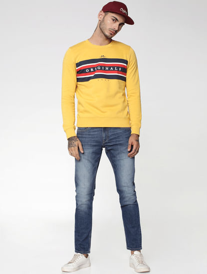 Yellow Graphic Print Crew Neck Sweatshirt