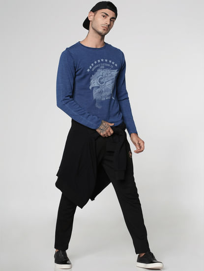 Indigo Graphic Print Crew Neck Sweatshirt