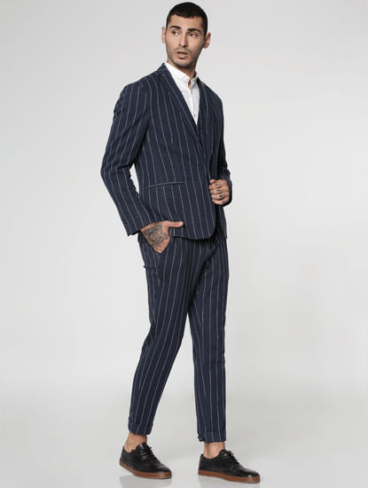 Navy Blue Lapel Collar Slim Fit Blazer
