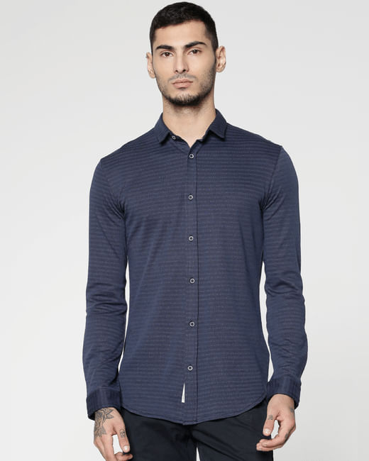 Navy Blue Striped Slim Fit Full Sleeves Shirt