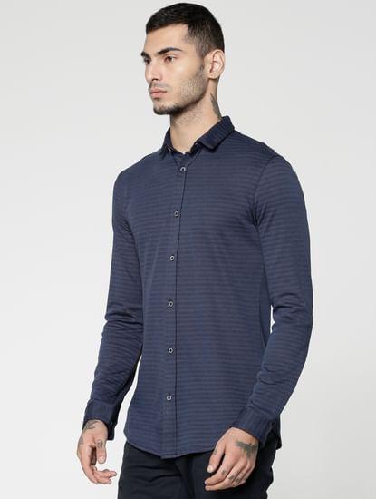 Navy Blue Striped Slim Fit Full Sleeves Shirt