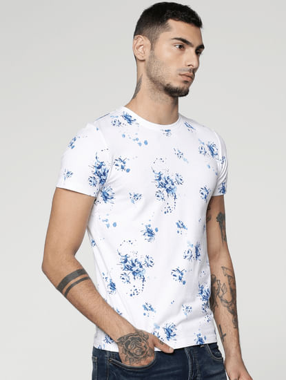 White All Over Floral Print Slim Fit Crew Neck T-Shirts