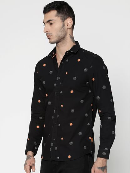 Black All Over Printed Slim Fit Full Sleeves Shirt