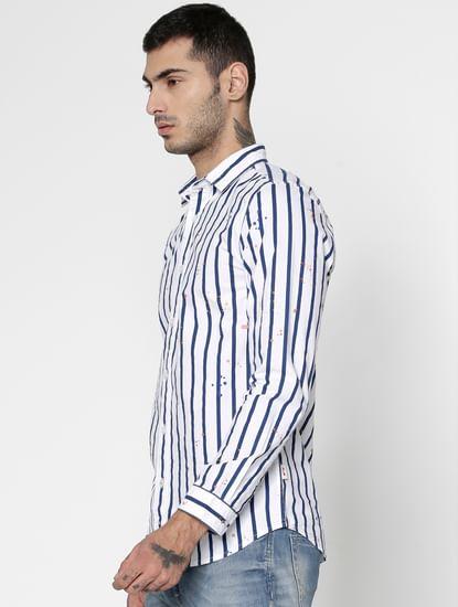 White Striped And Splash Print Slim Fit Full Sleeves Shirt