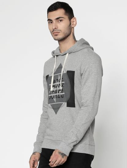 Grey Graphic Print Hooded Sweatshirt