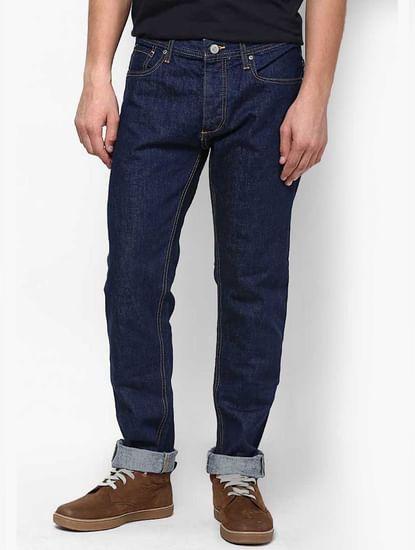 Dark Blue Solid Denim Jeans