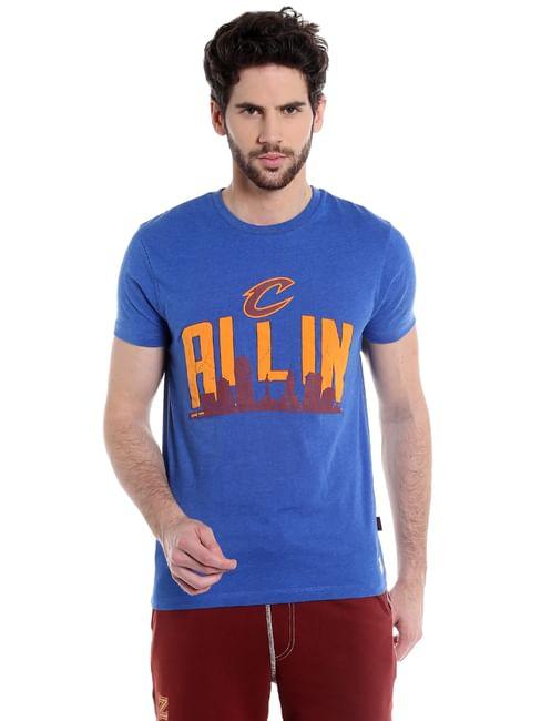 Cleveland Cavaliers Blue Graphic Print Crew Neck Nba T-Shirt