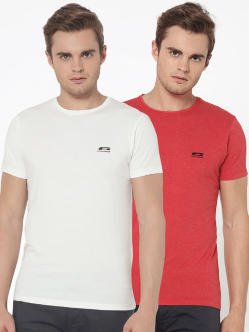 Pack Of Two Crew Neck T-Shirts- Red & White